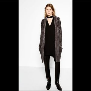Zara Knit velour ribbed long gray cardigan